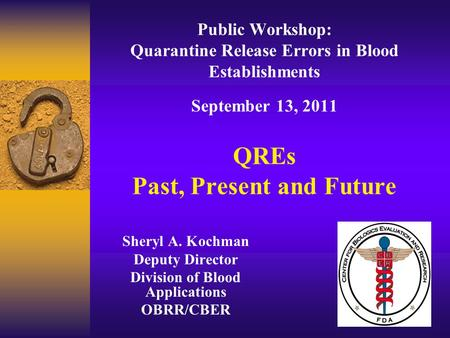 Public Workshop: Quarantine Release Errors in Blood Establishments September 13, 2011 QREs Past, Present and Future Sheryl A. Kochman Deputy Director Division.