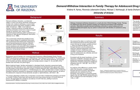 Ratings of demand-withdraw interaction in a multi-site trial of Brief Strategic Family Therapy for adolescent drug abuse showed complex but intriguing.