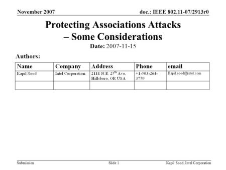 Doc.: IEEE 802.11-07/2913r0 Submission November 2007 Kapil Sood, Intel CorporationSlide 1 Protecting Associations Attacks – Some Considerations Date: 2007-11-15.
