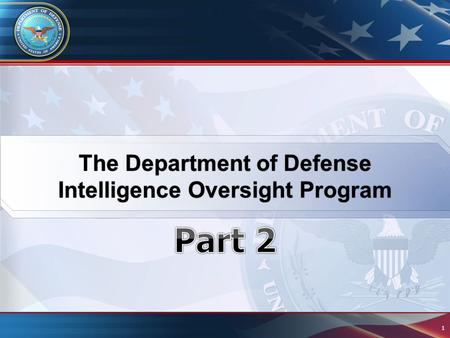 The Department of Defense Intelligence Oversight Program