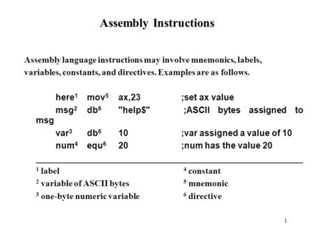 1 Assembly Instructions Assembly language instructions may involve mnemonics, labels, variables, constants, and directives. Examples are as follows. here.