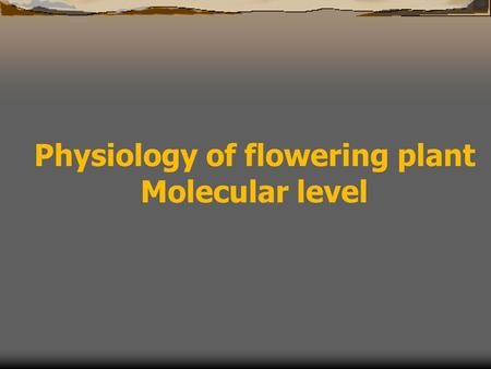 Physiology of flowering plant Molecular level. Molecular studies on flowering crops Basic knowledge genes, gene expression profile control of gene expression.