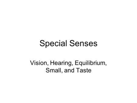 Special Senses Vision, Hearing, Equilibrium, Small, and Taste.