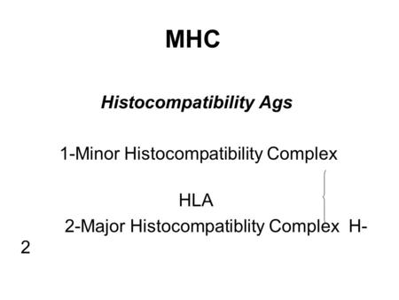 MHC Histocompatibility Ags 1-Minor Histocompatibility Complex HLA 2-Major Histocompatiblity Complex H- 2.