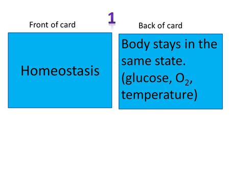 Homeostasis Front of card Back of card Body stays in the same state. (glucose, O 2, temperature)