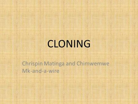 CLONING Chrispin Matinga and Chimwemwe Mk-and-a-wire.