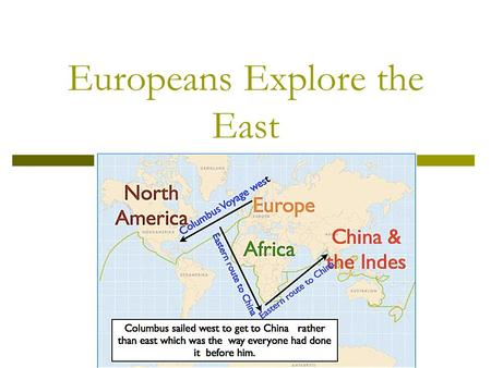 Europeans Explore the East. I. Gold, God, & Glory  Before 1400s = Euros. (little outside contact)  Motivating factors of exploration?