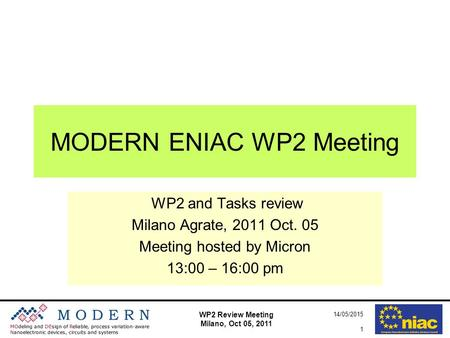 WP2 Review Meeting Milano, Oct 05, 2011 14/05/2015 1 MODERN ENIAC WP2 Meeting WP2 and Tasks review Milano Agrate, 2011 Oct. 05 Meeting hosted by Micron.