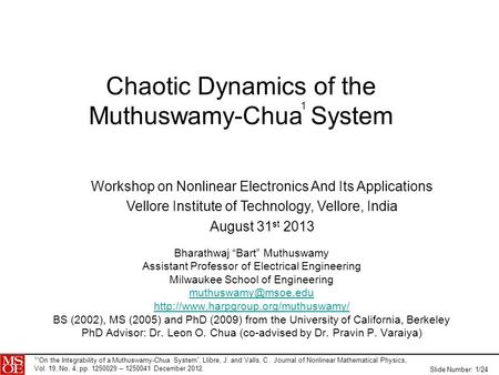 Chaotic Dynamics of the Muthuswamy-Chua System