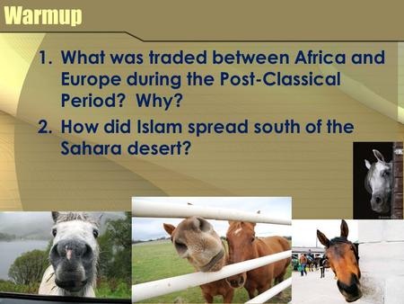 Warmup 1.What was traded between Africa and Europe during the Post-Classical Period? Why? 2.How did Islam spread south of the Sahara desert?