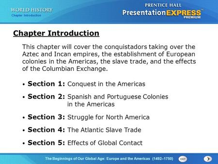 Chapter Introduction Section 1: Conquest in the Americas