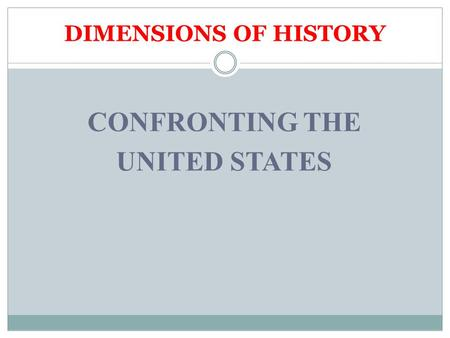 DIMENSIONS OF HISTORY CONFRONTING THE UNITED STATES.