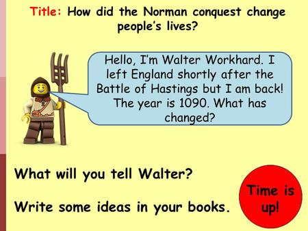Hello, I'm Walter Workhard. I left England shortly after the Battle of Hastings but I am back! The year is 1090. What has changed? What will you tell Walter?