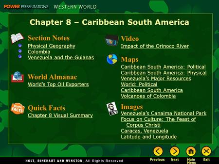 Chapter 8 – Caribbean South America