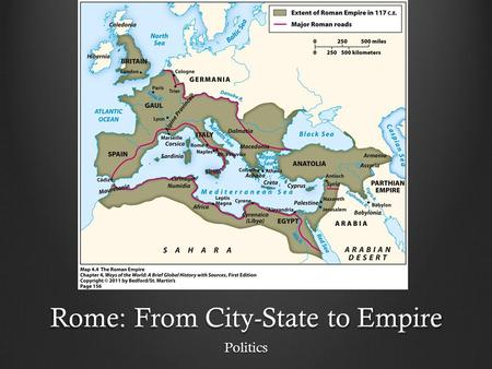 Rome: From City-State to Empire Politics. Politics A small city-state in western Italy. 753 BCE a Monarchy 509 BCE a republic. It was originally ruled.