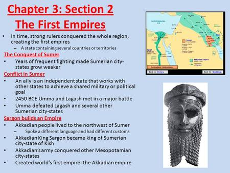 Chapter 3: Section 2 The First Empires