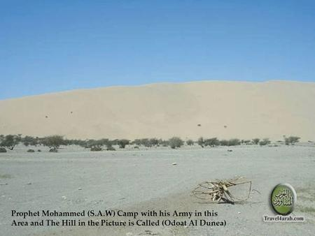 Prophet Mohammed (S.A.W) Camp with his Army in this Area and The Hill in the Picture is Called (Odoat Al Dunea)