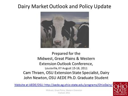 Dairy Market Outlook and Policy Update
