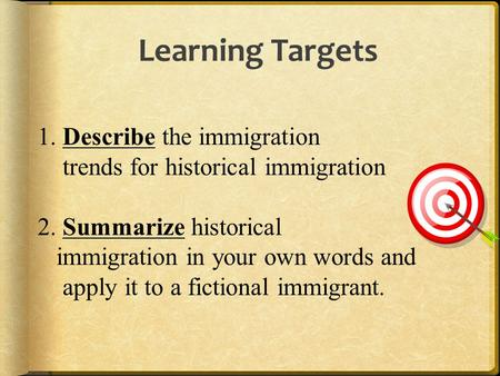 1. Describe the immigration trends for historical immigration 2. Summarize historical immigration in your own words and apply it to a fictional immigrant.