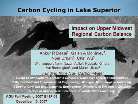 Ankur R Desai, UW-Madison AGU Fall 2007 B41F-03  Impact on Upper Midwest Regional Carbon Balance.