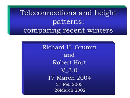 Teleconnections and height patterns: comparing recent winters Richard H. Grumm and Robert Hart V_3.0 17 March 2004 27 Feb 2003 26March 2002.