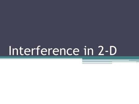 Interference in 2-D. How do two sound sources interfere with each other over a two dimensional plane? Key Question: