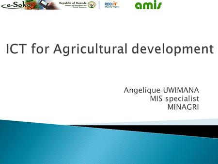 Angelique UWIMANA MIS specialist MINAGRI. AMIS  Agricultural Management Information system  Contain information relation to: ◦ Agricultural extension.