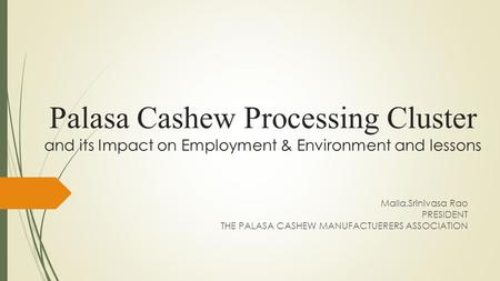 Palasa Cashew Processing Cluster and its Impact on Employment & Environment and lessons Malla.Srinivasa Rao PRESIDENT THE PALASA CASHEW MANUFACTUERERS.