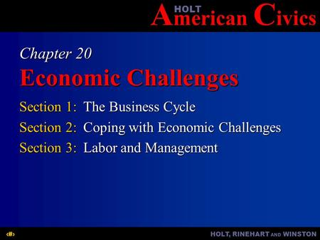 A merican C ivicsHOLT HOLT, RINEHART AND WINSTON1 Chapter 20 Economic Challenges Section 1:The Business Cycle Section 2:Coping with Economic Challenges.