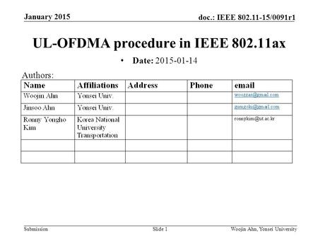 Submission doc.: IEEE 802.11-15/0091r1 January 2015 Woojin Ahn, Yonsei UniversitySlide 1 UL-OFDMA procedure in IEEE 802.11ax Date: 2015-01-14 Authors: