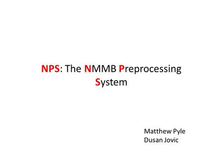 NPS: The NMMB Preprocessing System Matthew Pyle Dusan Jovic.