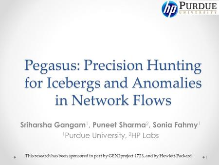 Pegasus: Precision Hunting for Icebergs and Anomalies in Network Flows Sriharsha Gangam 1, Puneet Sharma 2, Sonia Fahmy 1 1 Purdue University, 2 HP Labs.