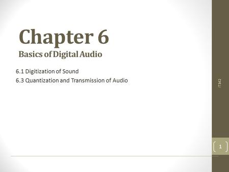 Chapter 6 Basics of Digital Audio