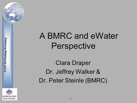 NAFE'06 Planning Workshop 1 A BMRC and eWater Perspective Clara Draper Dr. Jeffrey Walker & Dr. Peter Steinle (BMRC)