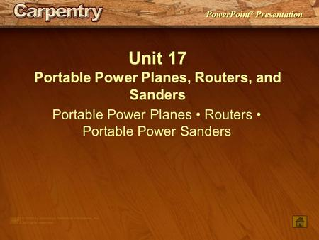 Portable Power Planes, Routers, and Sanders