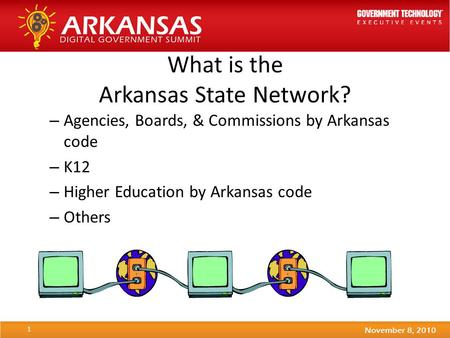 What is the Arkansas State Network? – Agencies, Boards, & Commissions by Arkansas code – K12 – Higher Education by Arkansas code – Others 1.