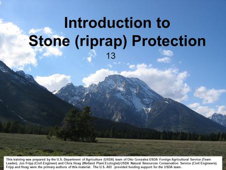 Introduction to Stone (riprap) Protection