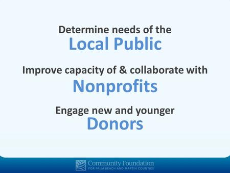 Local Public Determine needs of the Nonprofits Improve capacity of & collaborate with Donors Engage new and younger.