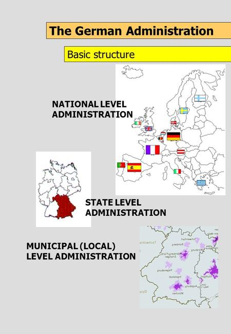 The German Administration Basic structure NATIONAL LEVEL ADMINISTRATION MUNICIPAL (LOCAL) LEVEL ADMINISTRATION STATE LEVEL ADMINISTRATION.