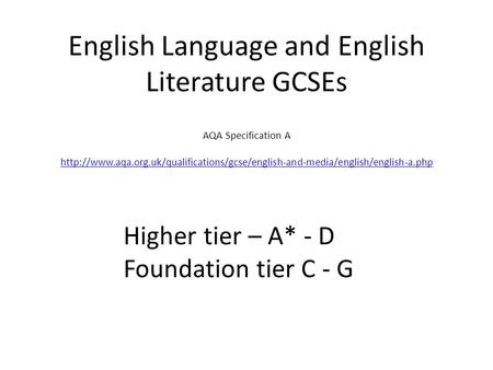 English Language and English Literature GCSEs AQA Specification A
