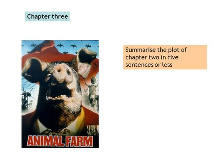 Chapter three Summarise the plot of chapter two in five sentences or less.