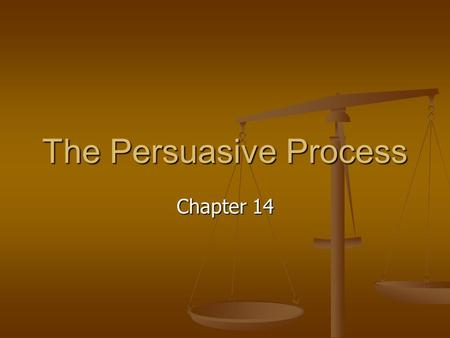 The Persuasive Process Chapter 14. After completing this chapter, you will be able to define persuasion and describe the persuasive process define persuasion.