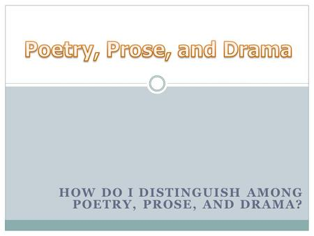 HOW DO I DISTINGUISH AMONG POETRY, PROSE, AND DRAMA?