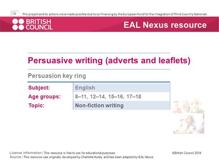 Persuasive writing (adverts and leaflets)