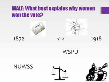 WALT: What best explains why women won the vote? 1872 1918 NUWSS WSPU.