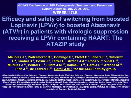 1 Efficacy and safety of switching from boosted Lopinavir (LPV/r) to boosted Atazanavir (ATV/r) in patients with virologic suppression receiving a LPV/r.