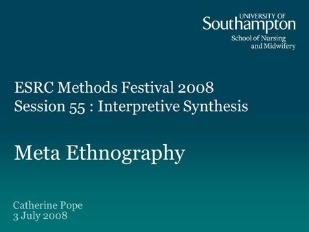 meta-ethnography synthesising qualitative studies Qualitative meta-ethnography (synthesis): can you re-interpret a studies primary data to make it relevant to your own synthesis.