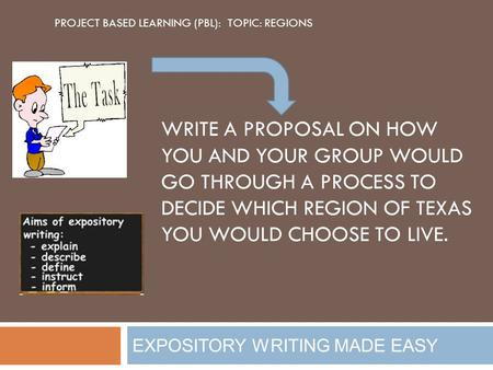 EXPOSITORY WRITING MADE EASY WRITE A PROPOSAL ON HOW YOU AND YOUR GROUP WOULD GO THROUGH A PROCESS TO DECIDE WHICH REGION OF TEXAS YOU WOULD CHOOSE TO.