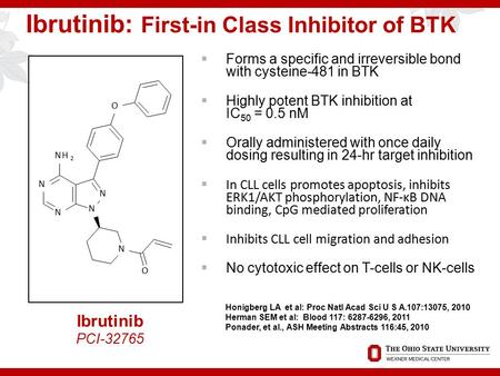 Ibrutinib: First-in Class Inhibitor of BTK  Forms a specific and irreversible bond with cysteine-481 in BTK  Highly potent BTK inhibition at IC 50 =
