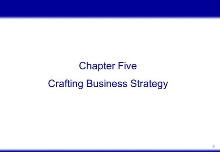 0 Chapter Five Crafting Business Strategy. 1 OBJECTIVES Define generic strategies and show how they relate to a firm's strategic position 1 Describe the.